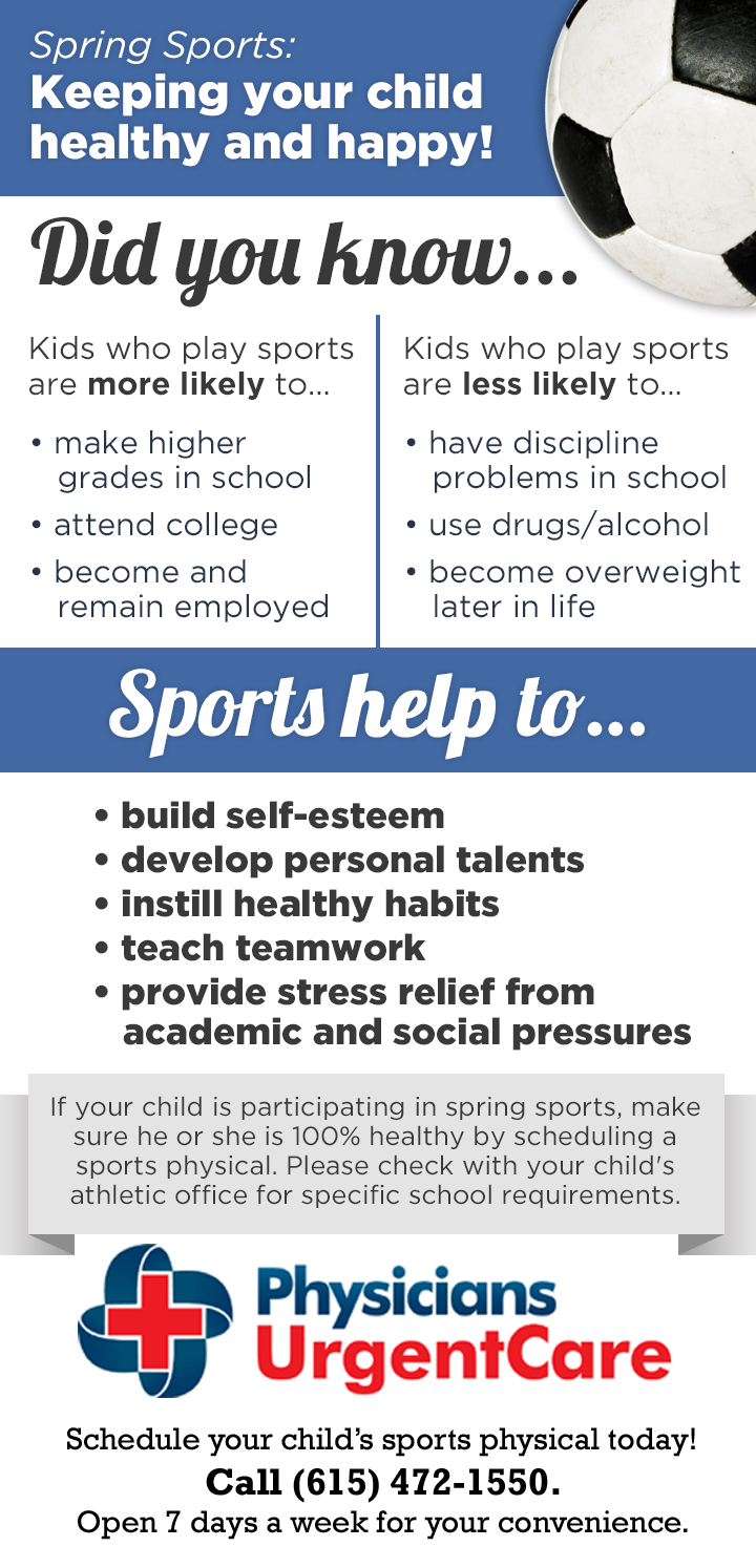 Spring Sports Physicals Franklin and Brentwood TN Infographic