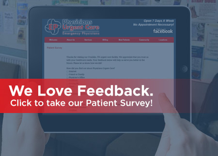Click to take the Physicians Urgent Care Survey